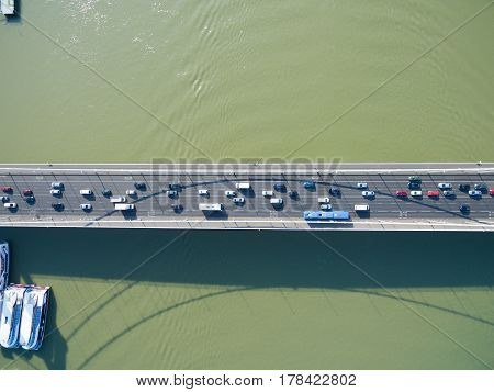 Aerial view of Elisabeth Bridge connecting Buda and Pest across the River Danube