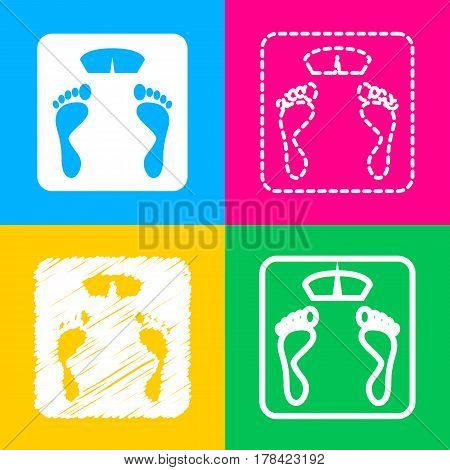 Bathroom scale sign. Four styles of icon on four color squares.