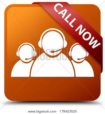 Call Now (customer Care Team Icon) Brown Square Button Red Ribbon In Corner