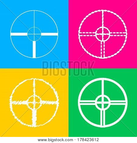 Sight sign illustration. Four styles of icon on four color squares.