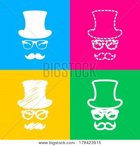 Hipster accessories design. Four styles of icon on four color squares.