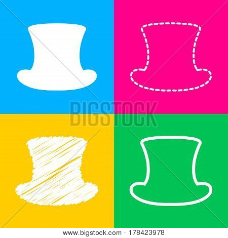 Top hat sign. Four styles of icon on four color squares.