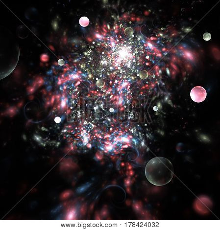 Abstract Pink, Blue And Grey Sparks On Black Background. Fantasy Fractal Texture. Digital Art. 3D Re