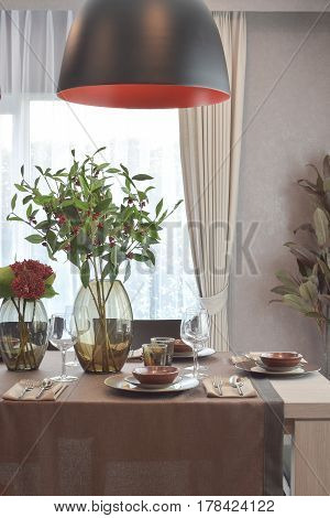 Modern Classic Dining Set With Hanging Lamp In Luxury Dining Room