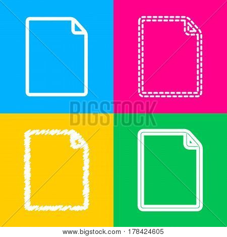 Vertical document sign illustration. Four styles of icon on four color squares.
