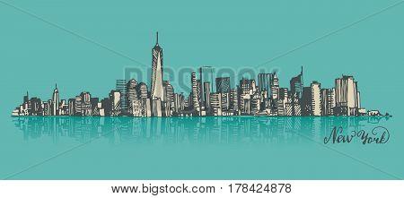 Manhattan New York United States of America, engraved vector illustration, hand drawn, sketch