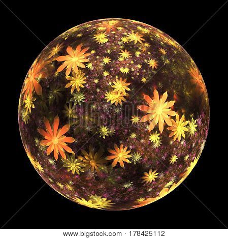 Abstract Ornamented Sphere With Delicate Flowers On Black Background. Fantasy Fractal Design In Oran