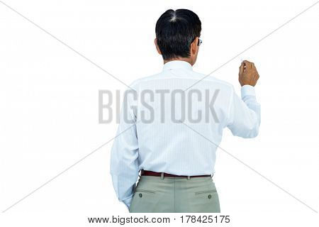 Businessman writing on board with his back turned on board