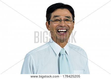 Happy asian businessman smiling to the camera
