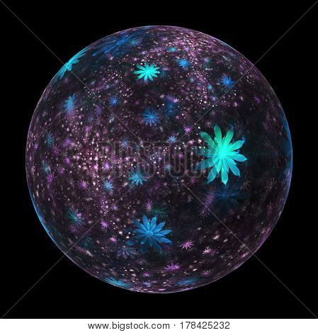 Abstract Ornamented Sphere With Delicate Flowers On Black Background. Fantasy Fractal Design In Blue