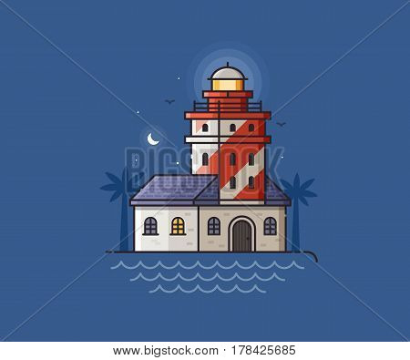 Red lighthouse night scene vector illustration. Light house beam on seaside background. Sea side landscape with striped pharos or seamark, moon and seagulls.