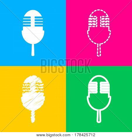 Retro microphone sign. Four styles of icon on four color squares.