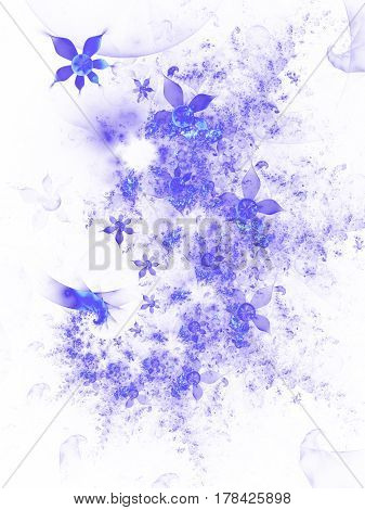 Abstract Fantastic Spiral Design With Blue Flowers On White Background. Digital Fractal Artwork. 3D