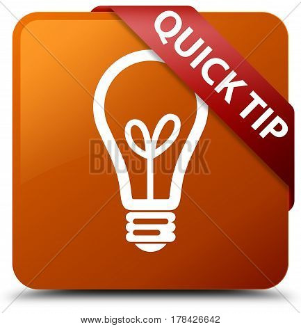 Quick Tip (bulb Icon) Brown Square Button Red Ribbon In Corner