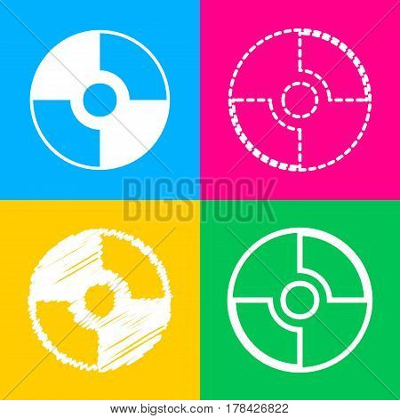 Vector CD or DVD sign. Four styles of icon on four color squares.