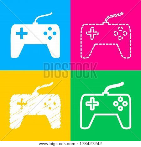 Joystick simple sign. Four styles of icon on four color squares.