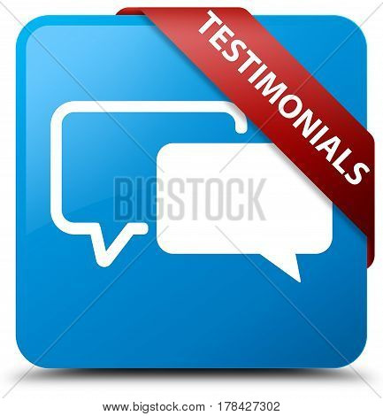 Testimonials Cyan Blue Square Button Red Ribbon In Corner