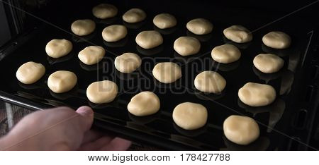 Homemade baking, butter cookies. Baking background. Selective focus