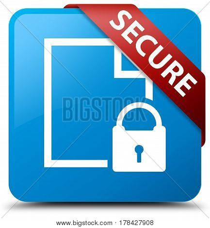 Secure (document Page Padlock Icon) Cyan Blue Square Button Red Ribbon In Corner