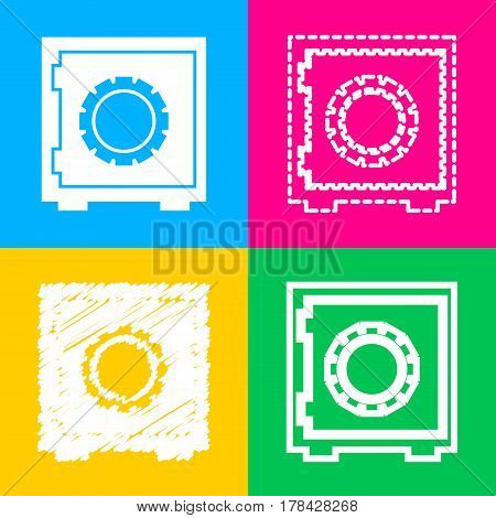 Safe sign illustration. Four styles of icon on four color squares.