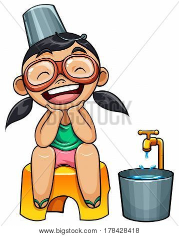 kid with pail and bucket of watervector illustration