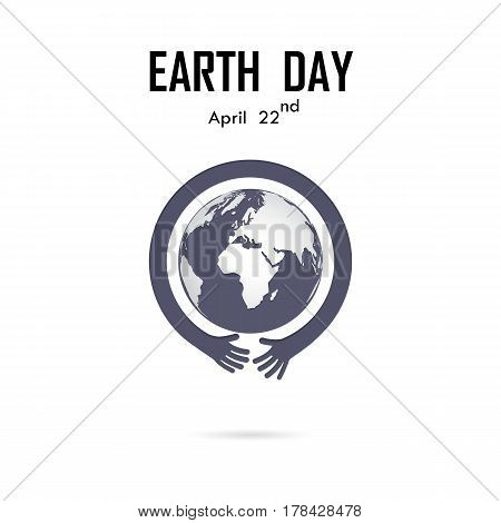 Human hand and globe icon vector logo design template.Earth Day campaign idea concept.Earth Day idea campaign for greeting CardPosterFlyerCoverBrochureAbstract background.Vector illustration