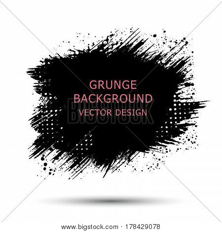 black paint ink brush strokes brushes lines. Dirty artistic design elements boxes frames for text.