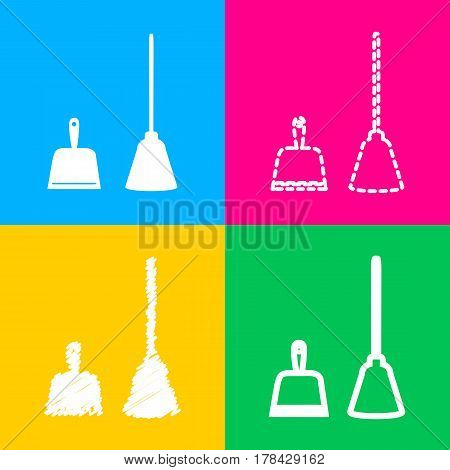 Dustpan vector sign. Scoop for cleaning garbage housework dustpan equipment. Four styles of icon on four color squares.