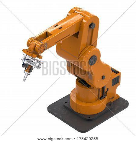 Welding Robotic Arm Isolated On White