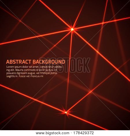 Abstract vector technology background with security red laser beams. Laser line light, illustration of energy, red laser technology