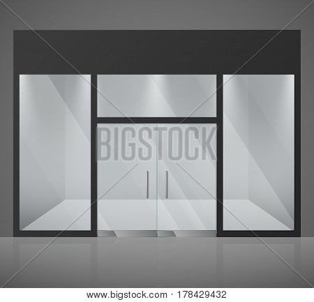 Empty fashion store, shop with big glass window and entrance vector illustration. Fashion empty store, exterior window front store