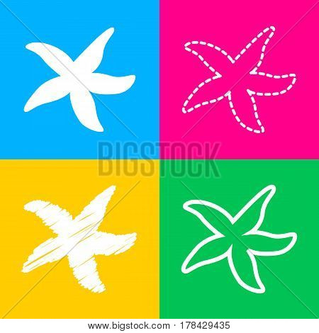 Sea star sign. Four styles of icon on four color squares.