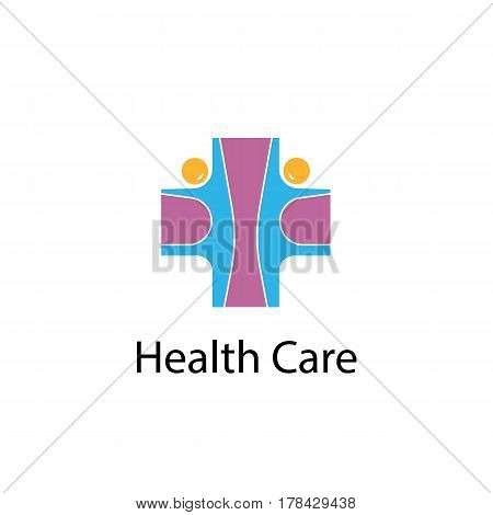 Medical cross & people icon.Medical center vector logo design template.Health care & Medical symbol.Vector illustration