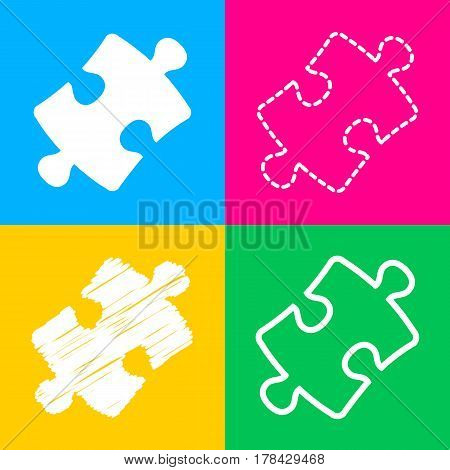 Puzzle piece sign. Four styles of icon on four color squares.
