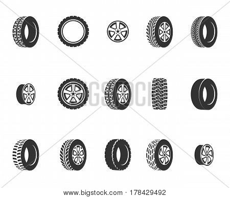 Tires, wheel disks auto service vector icons. Auto black wheel, illustration of automobile rubber wheel