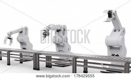 Robotic Arm With Conveyor Line