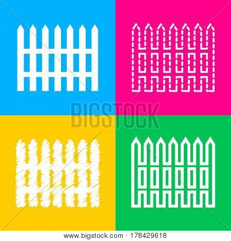 Fence simple sign. Four styles of icon on four color squares.