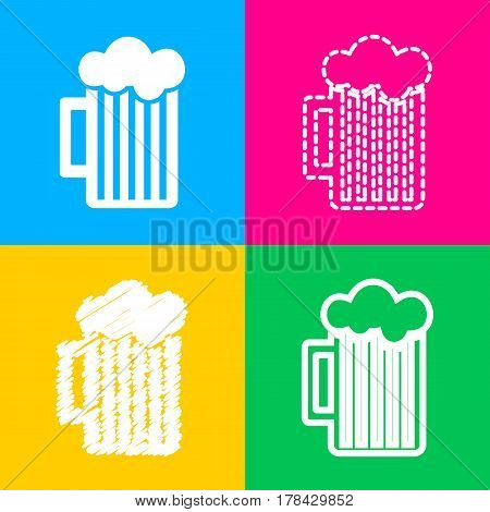 Glass of beer sign. Four styles of icon on four color squares.