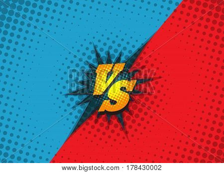 Versus fighting background concept in comic book style vector illustration. Superhero battle amazing cartoon backdrop