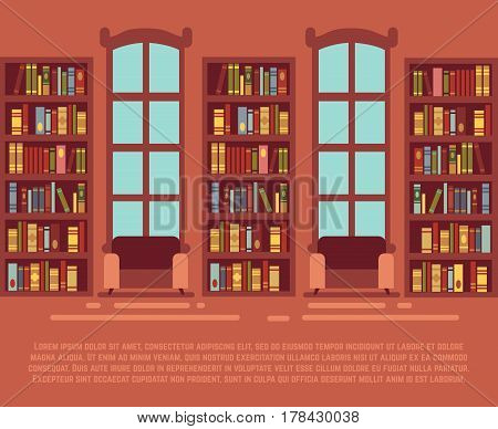 Modern library empty interior with bookcase, bibliotheca with bookselves vector illustration. Interior of library with bookshelf, wooden shelf with book for library