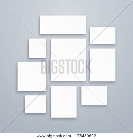 Blank white 3d paper canvas or photo frames. Vector posters mockups. Presentation photography portfolio, illustration of creativity portfolio exhibition