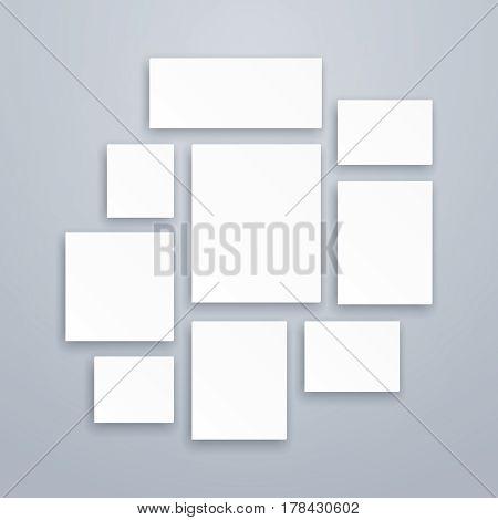 Blank white 3d paper canvas or photo frames. Vector posters mockups. Presentation photography portfolio, illustration of creativity portfolio exhibition