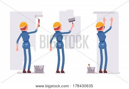 Set of female construction worker in a yellow protective hardhat, blue suit, making repairs indoor, working with walls, smoothing, painting, gluing wallpaper, full length, isolated, white background