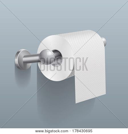 White toilet paper roll, serviette on wall vector illustration. Roll paper in restroom, paper on tube toiletry