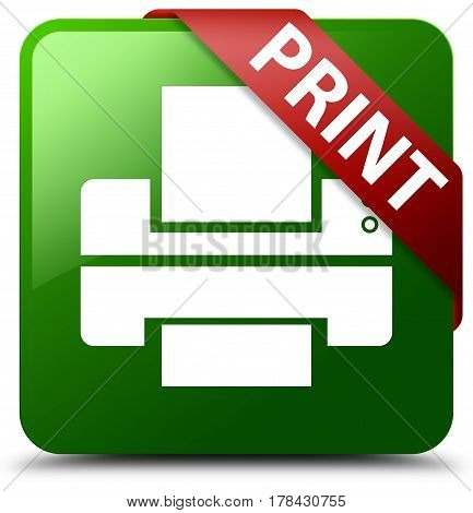 Print (printer Icon) Green Square Button Red Ribbon In Corner