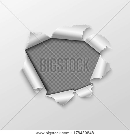 Paper hole with torn edges isolated on transparent checkered background. Hole in paper sheet with twisted edges illustration