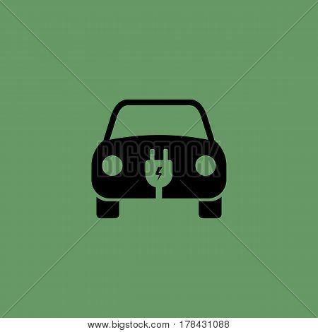 Electric Car Icon. Vector Illustration. E-car Sign