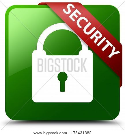 Security (padlock Icon) Green Square Button Red Ribbon In Corner