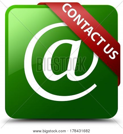 Contact Us (email Address Icon) Green Square Button Red Ribbon In Corner