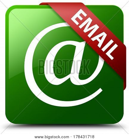 Email (address Icon) Green Square Button Red Ribbon In Corner